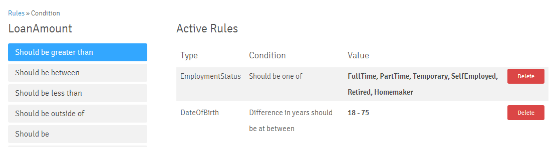 Rule Number Conditions