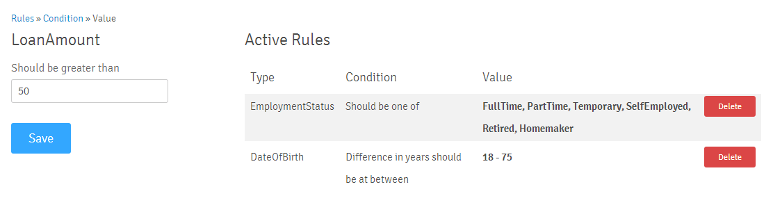 Rule Number Value