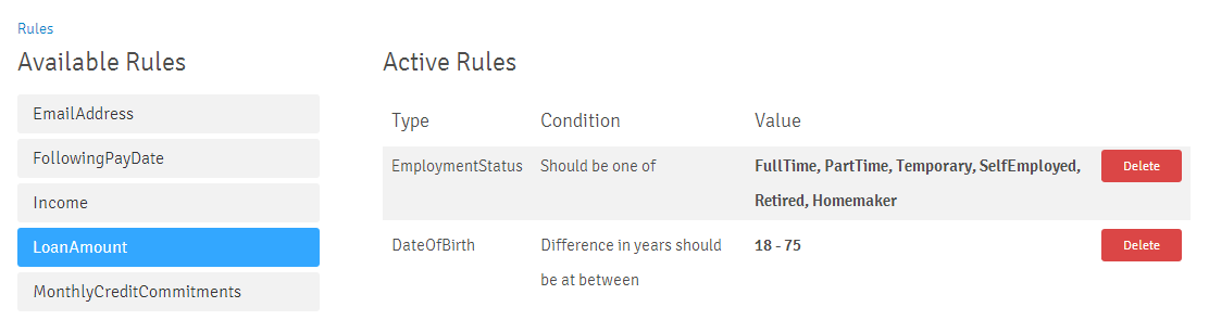 Rule Number Selected