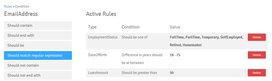 Rule Text Conditions RegEx