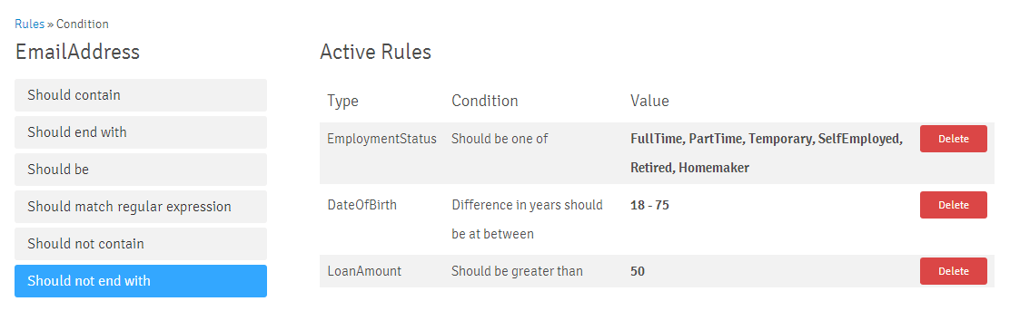 Rule Text Conditions