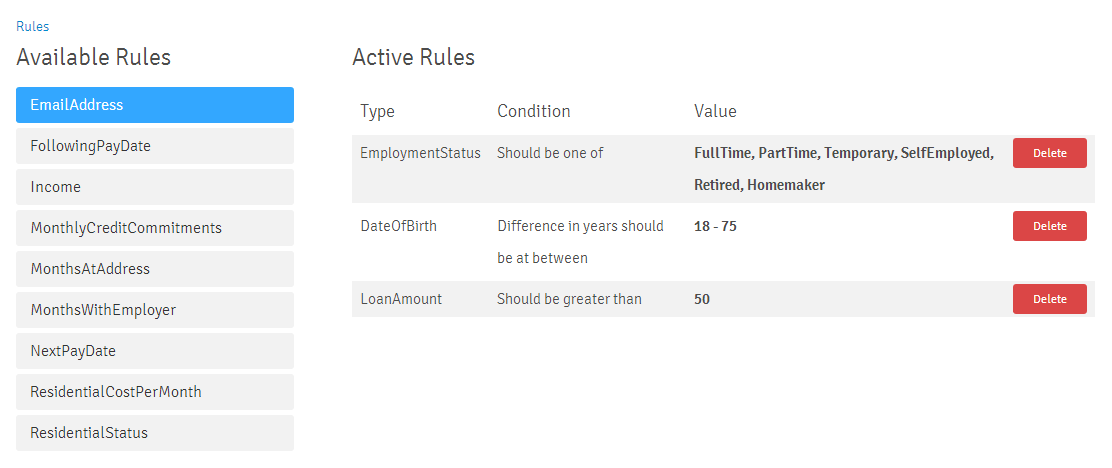 Rule Text Selected