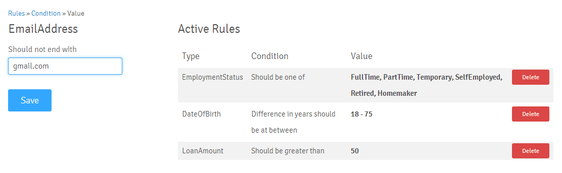 Rule Text Value